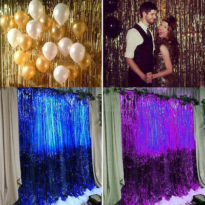 Metallic Tinsel Foil Fringe Curtains For Party Photo Backdrop Birthday Wedding  - Photo Decorations For Parties