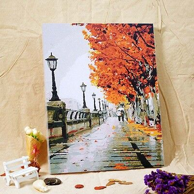 """Paint By Number On Canvas DIY Painting Kit 16""""*20"""" with Frame Autumn Street"""