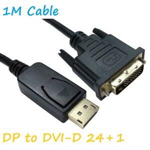 1m DisplayPort Display Port DP to DVI-D 24+1 Male Digital Video Cable Lead PC TV