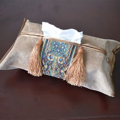 - Embroidered Tissue Pouch Holder Cloth Classic With Tassel Decoration Napkin Case