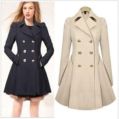 US Ladies Slim Outwear Coat Breasted Long Trench Overcoat Women Windbreaker