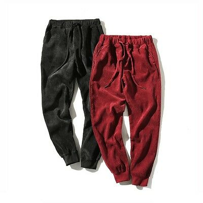 Men Corduroy Cropped Trousers Draw String Waist Pants Jogger Taperd Classic Soft Corduroy Cropped Pants