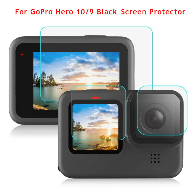 For GoPro HERO 10/9 Black Lens+LCD Display Tempered Glass Film Screen Protector