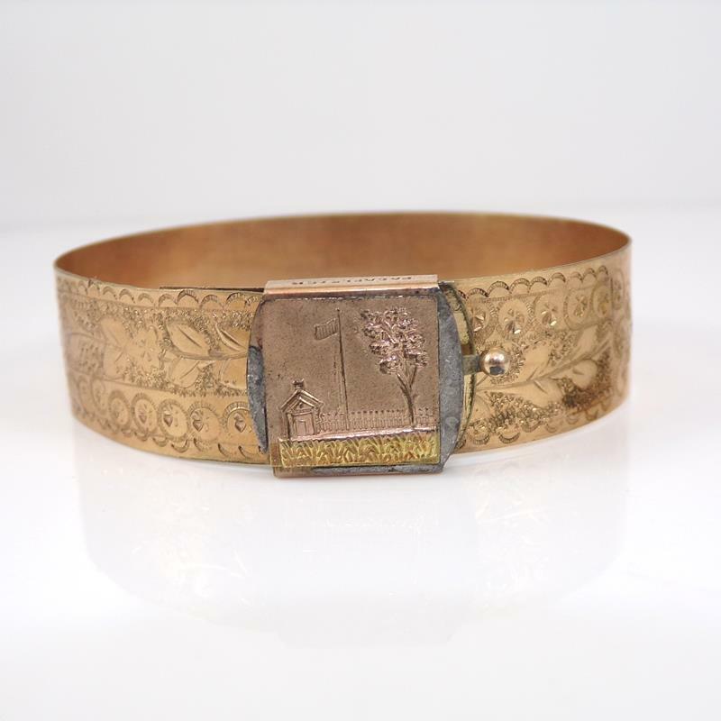 Vtg Antique Victorian Gold Fill Belt Buckle Style Flag Bangle Bracelet QYE4
