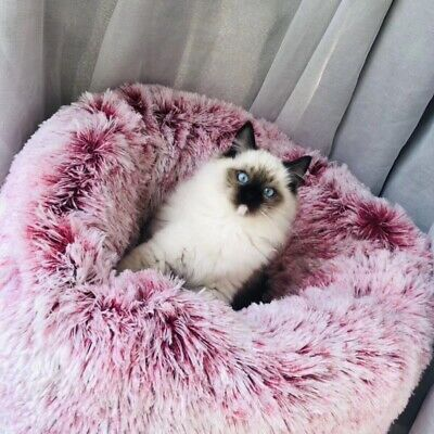 Round Lux Fur Donut Cuddler Cat and Dog Cushion Pet Bed ,Orthopedic Relief -