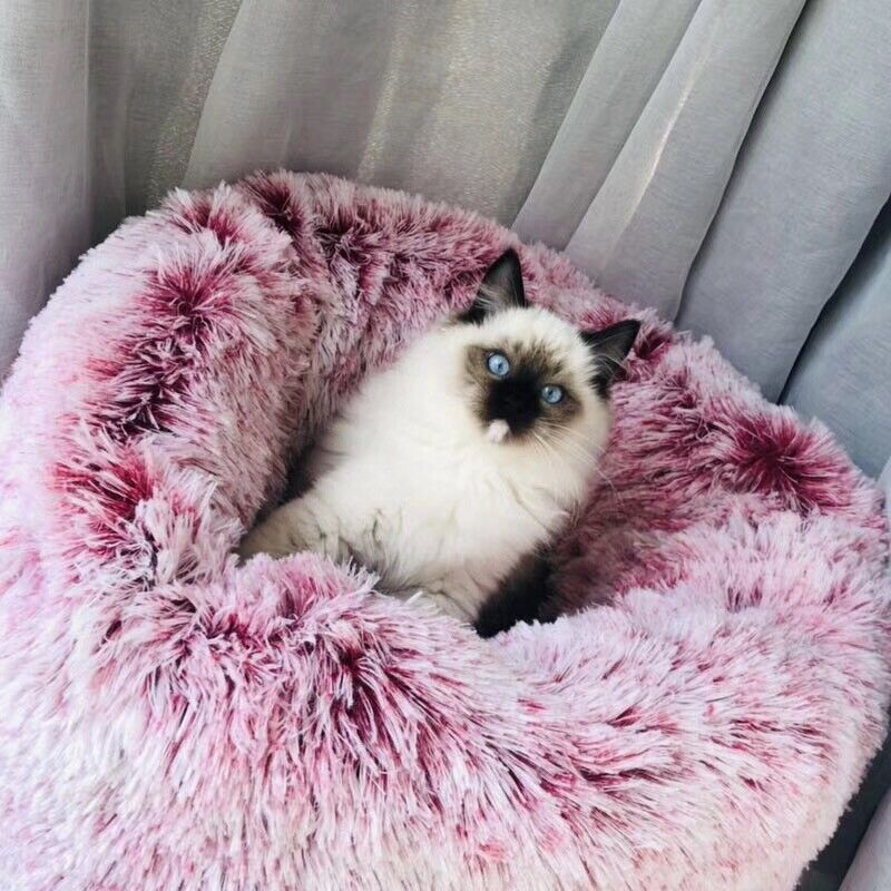 Round Lux Fur Donut Cuddler Cat and Dog Cushion Pet Bed ,Ort