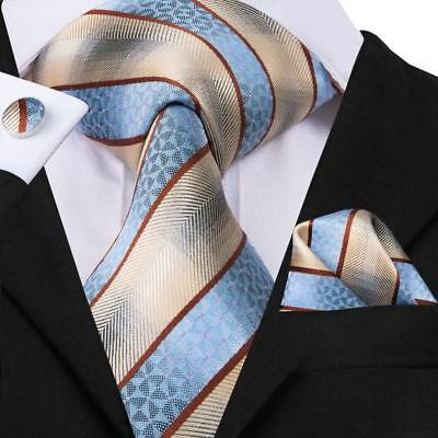 USA Classic Blue Beige Striped Mens Necktie Silk Woven Set Wedding Business