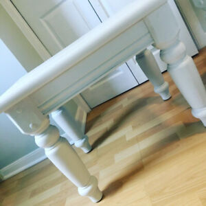 Two white rustic side tables