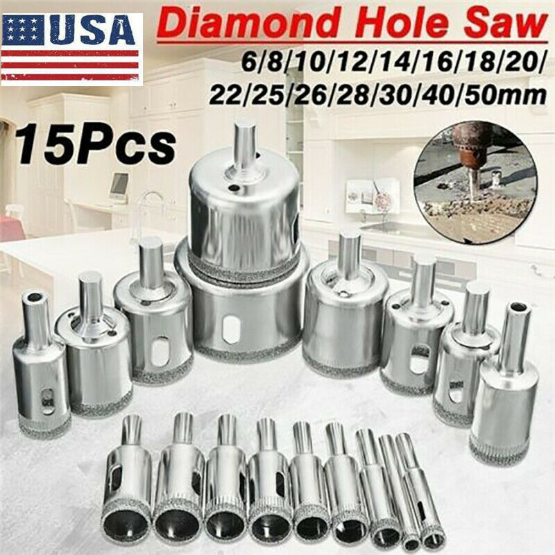 15PCS Diamond Drill Bits for Glass Ceramic Tile Porcelain Hole Maker Saw Cutting