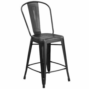 Miraculous 24 High Distressed Black Metal Indoor Outdoor Counter Height Stool With Back Pabps2019 Chair Design Images Pabps2019Com