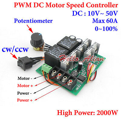 Dc 12v 24v 48v 60a Pwm Dc Motor Driver Speed Controller Cw Ccw Reversible Switch