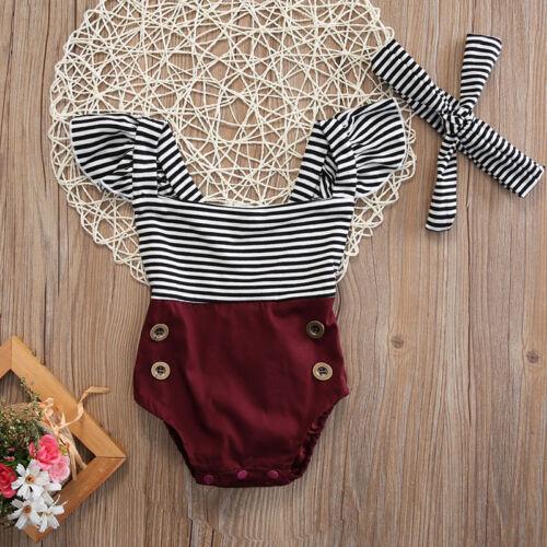 US Newborn Toddler Baby Girl Clothes Romper Bodysuit+Headban