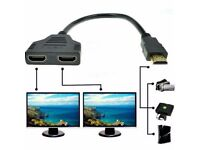 New 1080P HDMI Male to 2 Female 1 In 2 Out Splitter Adapter Converter