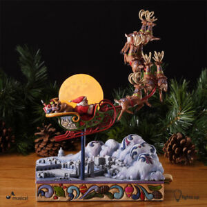 Rare Jim Shore Masterpiece Santa Sleigh Musical 4027708 12""