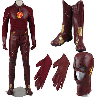 Hot Cakes Flash Hero Barry Allen Faux Leather Cosplay Costume Cos Boots Suit  (Cheap Costume Boots)