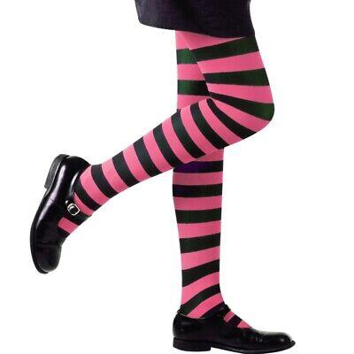 Kinder STRUMPFHOSE  rosa-schwarze Streifen Ringel Kostüm Party - Rosa Hose Kostüme