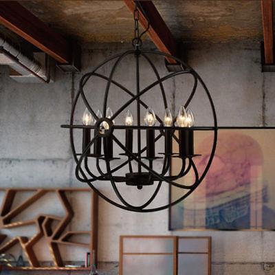 Industrial Vintage Chandelier Black Metal Orb Cage Chain Sus