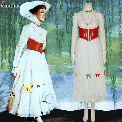 Mary Poppins Nanny Cosplay Jolly Holiday Costume Classic Movie Women Fancy Dress (Classic Movie Halloween Costumes)