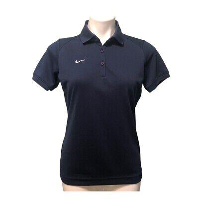 Nike M Womens Golf Polo Shirt Top Short Sleeve Navy Blue Collared Medium Dri Fit