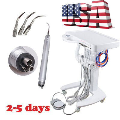 Mobile 4hole Dental Delivery Cart Unit Triplex Syringe With Air Scaler Handpiece