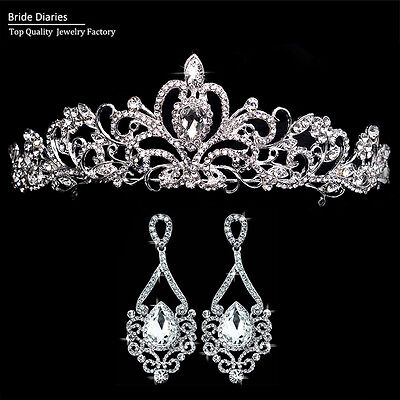 Tiara and Big Tears Drop Earrings Hair Crown Wedding Sets Bride Hair Accessories - Big Tiaras And Crowns