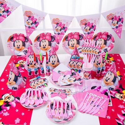 89 tlg Minnie Mouse Kinder Mädchen Geburtstag Deko Party Set Hüte Masken Teller