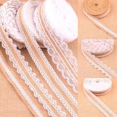1 Metre Floral White Lace Trim Edge Natural Jute Burlap Ribbon Wedding Decor - Burlap Lace Ribbon