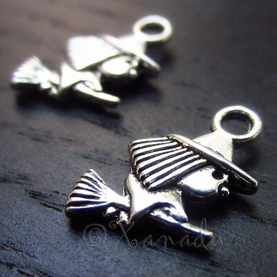 Witch Halloween Wholesale Silver Plated Charm Pendants C3146 - 10, 20 Or 50PCs - Halloween Charms Wholesale