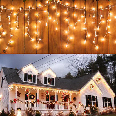 Warm Icicle Hanging LED Fairy Windows Curtain Lights Christmas Party Decors 110V (Led Hanging Lights)