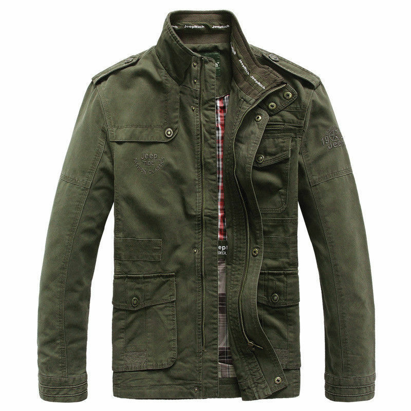 Tactical Jeep Rich Mens Trench Coat Jackets Bomber Stand-Up Jackets Long Outwear
