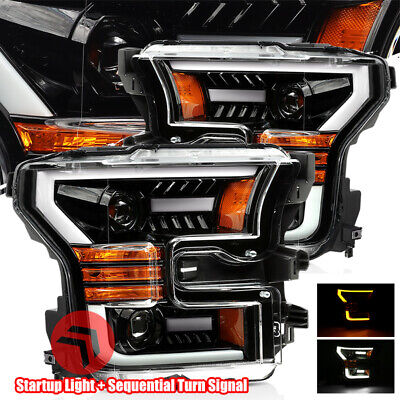For 15-17 Ford F150 Glossy Black Sequential Signal/DRL LED Projector Headlights for sale  Shipping to Canada