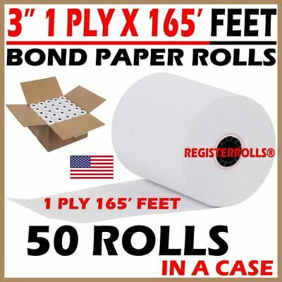 3x165 Bond Kitchen Printercash Registerreceipt Tape Paper - 50 Rollscase