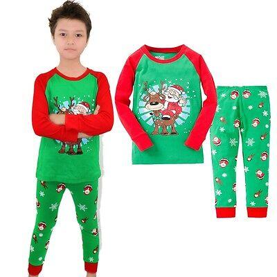 Christmas Santa Baby Kids Boys Long Sleeve Sleepwear Suit Pajamas Sets Size 2T-7 - Santa Pajamas Kids