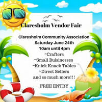 JOIN US at the Claresholm Vendor Fair!!! ~Tables still open