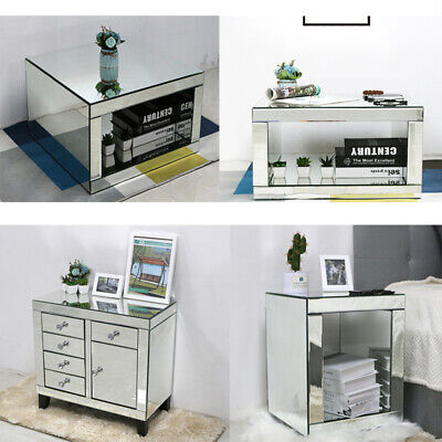 Glass Mirrored TV Stand Living Room Coffee Table Bedside Unit Side Console Table