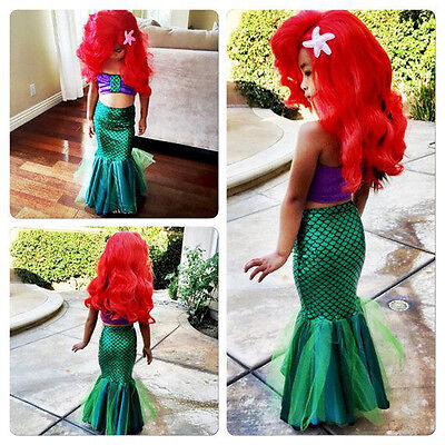 US Princess Kids Baby Girls Mermaid Tails Dress Swimsuit Bikini Swimwear Costume