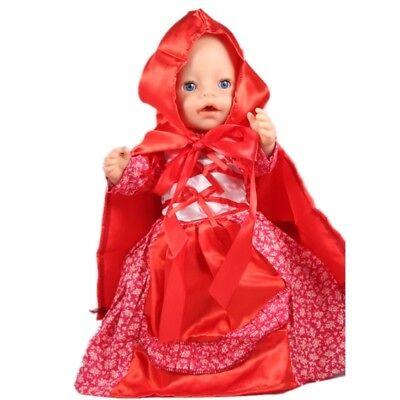 Puppenkleidung, Kleid, Kostüm, rot, 43 cm, zb. Baby Born/Sister, - Puppe Kostüm Kleidung