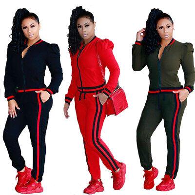 2pcs Fashion Women Long Sleeve Zipped Bodycon Jumpsuit Casual Clubwear S-3XL