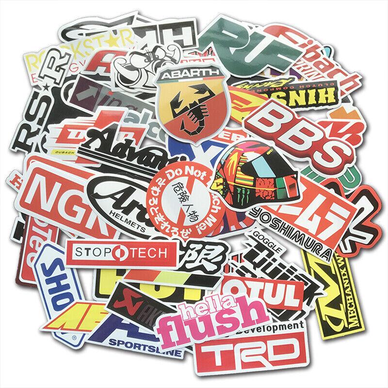 Car Parts - 100Pcs Auto Car Parts NHRA Drag Racing Vinyl Graphics Stickers Bomb Decals Pack
