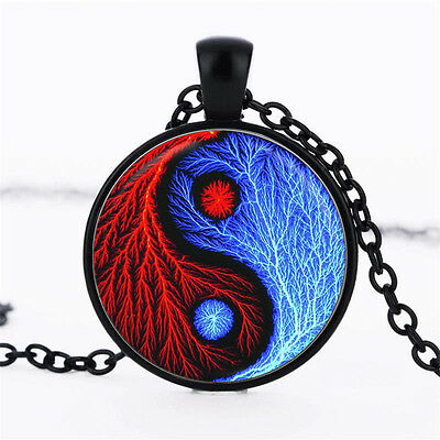 Wholesale Cabochon Glass Black  Chain Pendant Necklace ,Yin and Yang ice grain