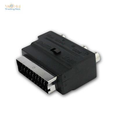 Euroconector Adaptador Enchufe & 3 Cable Cinch & Mini din Acoplamiento Vídeo