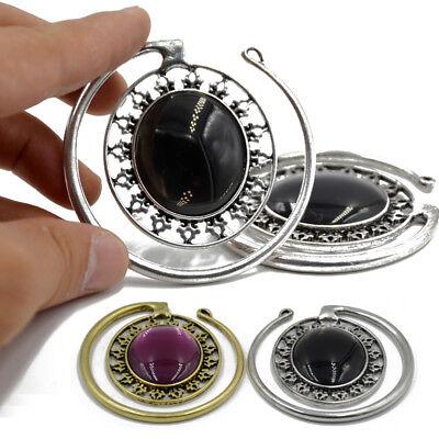 Tribal Brass Cat Eye Oval Puj Ju Ear Weights Piercing Earring Tunnel Plug Gauges Cat Eye Oval Earrings