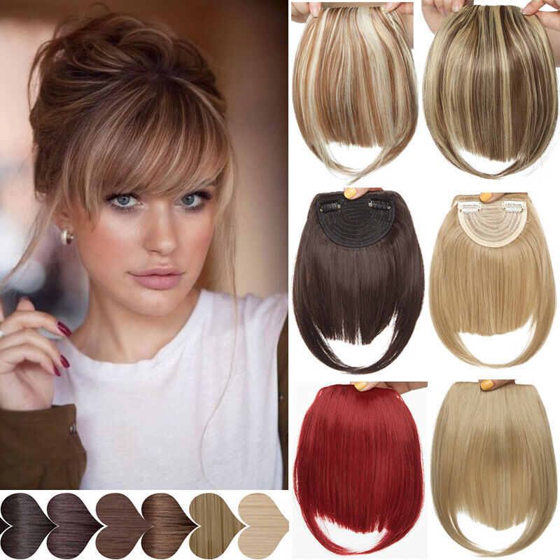 100% Clip In Women For Human Hair Neat Bangs Front Fringe Ha