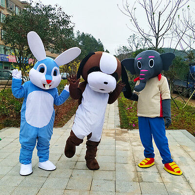 Easter Bunny Dog Elephant Rabbit Mascot Costomes Suits Cosplay Dress Adults size