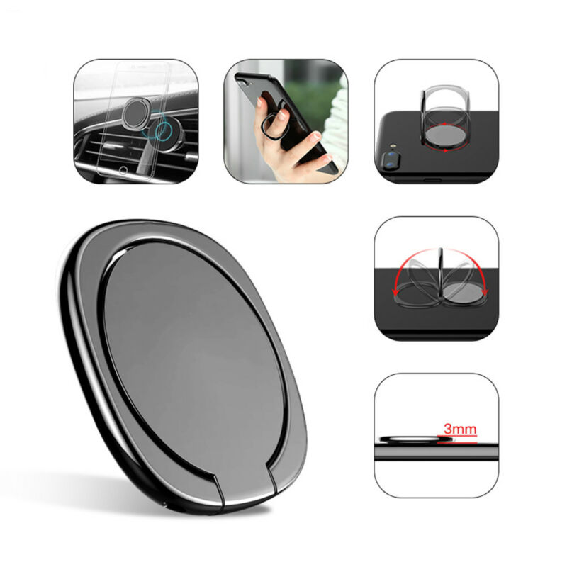 Universal 360 Degree Rotate Ring Phone Holder with Car Stand Bracket