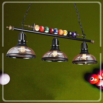 Game Room Metal Billiard Light with Balls Pool Table Lamp with 3 Glass -