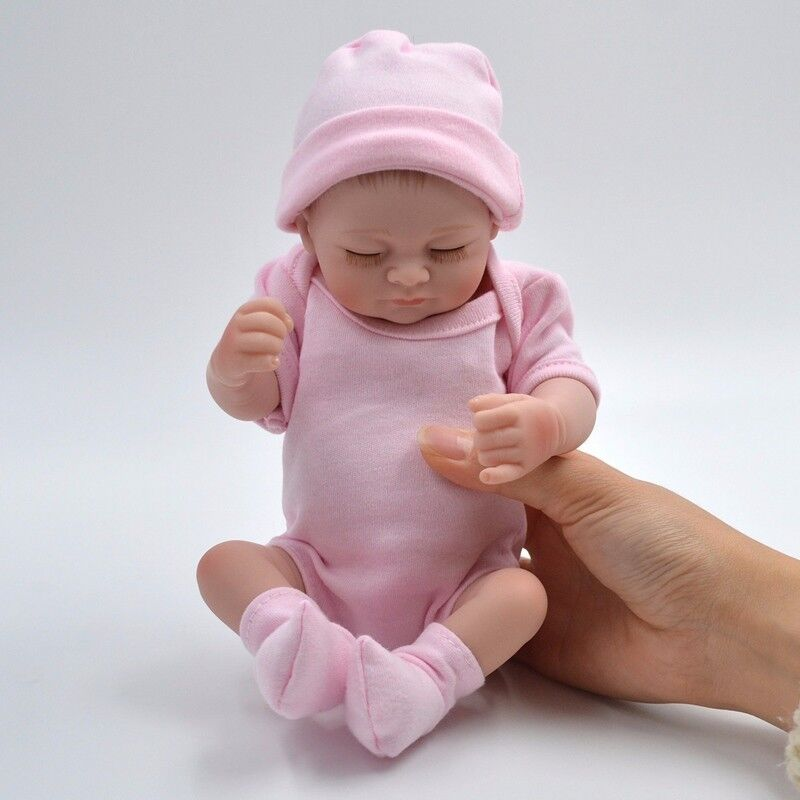 "11"" Handmade Newborn Baby Girl Vinyl Soft Silicone Realistic Reborn Doll Real US"