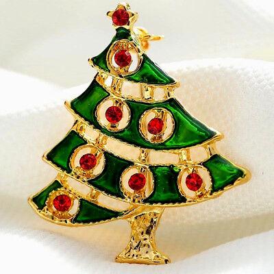Bright CHEERFUL Gold Green CHRISTMAS TREE Rhinestone Enamel Retro Vintage Brooch (Green Enameled Christmas Tree)