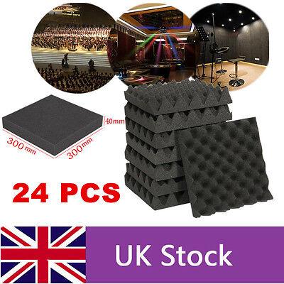 24PCS Acoustic Foam Egg Panels Tiles Studio Sound Proofing Treatment Absorption