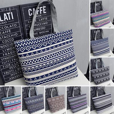 Fashion Women Beach Shoulder Bag Handbag Hobo Canvas Shopping Tote Zipper Large